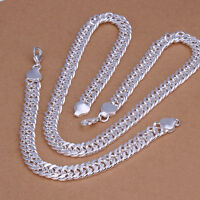 925 Sterling Silver Filled 10MM Solid Curb Chain Bracelet / Necklace Set 87g