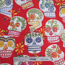 Alexander Henry CALAVERAS Red DAY of the DEAD Fabric by Yard Sugar Skulls Cotton