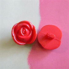 15 Flower Rose Dress Craft Clothes Sweater Sewing Buttons 15mm Size L Red K321