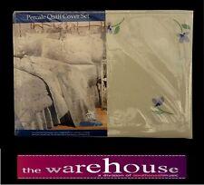 TESSA QUEEN QUILT DOONA COVER POLY COTTON + 2 PILLOW CASES CREAM OFF WHITE