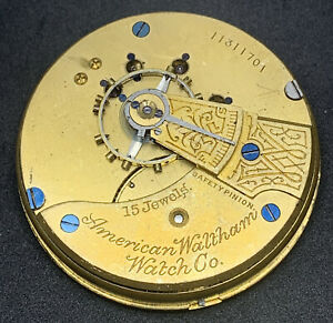 Waltham Grade 81 Pocket Watch Movement 1883 Model 18s 15j Hunter Parts F5527