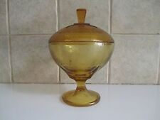 "VTG ART DECO YELLOW DEPRESSION GLASS 8"" TALL,5 1/2"" D COVERED COMPOTE/CANDY DISH"
