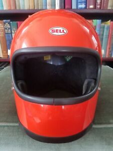 Vintage Bell Star Motorcycle Helmet Orange Toptex F1 MX Motocross Racing 7 7/8""