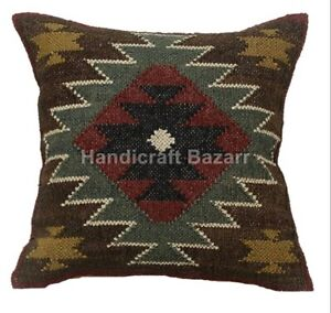 2 Pc Indian Jute Cushion Cover Handwoven Wool Cushion Cover Vintage Boho Pillows