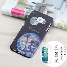 Silicone Phone Case Samsung Galaxy S6 Soft Cover Earth Design + Tempered Glass