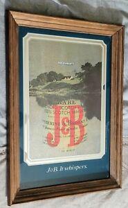 "J&B Scotch Whiskey Mirror Bar Man Cave Advertising 13.5""x19.5"" RARE Sign/mirror"