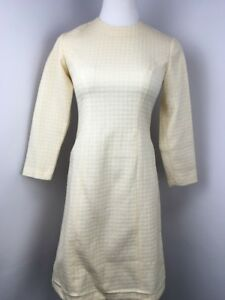 Vintage 70's Go-Go Tweed MOD Beige BOHO Short HIgh Neck dress M/L Honeycomb EUC
