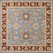Traditional Floral Light Blue Oushak Oriental Hand-Tufted 7'x7' Square Wool Rug