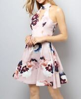 NEW EX NewLook Stretchy PINK FLORAL Print PARTY COCKTAIL DRESS UK SIZE 8 - 18