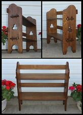 Antique Mission Oak Arts & Crafts Pierced Clover Book Shelf Mortise &Tenon Stand