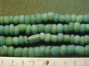 String of Roman turquoise  coloured  glass beads, circa 100-400 A.D.