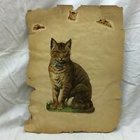 Vintage Scrapbook Page Large Piece Cat and Children