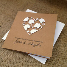 "Personalised Handmade Engagement Card ""White Flower Heart"""