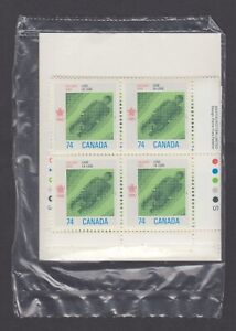 CANADA SEALED PLATE BLOCKS 1198 1988 OLYMPIC WINTER GAMES, LUGE, SLATER, A-P
