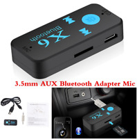3.5mm Wireless AUX Audio Stereo Music Car Receiver Adapter + Mic Black