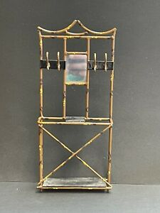 Antique Dollhouse Miniature Metal Hall Tree with Mirror and Shelves
