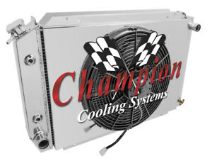 "4 Row Champion Radiator W/ 16"" SPAL HI Performance Fan Shroud 79-93 Ford Mustang"