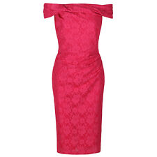 Hot Pink Cerise Vintage Lace Bardot Pencil Wiggle Bodycon Party Cocktail Dress