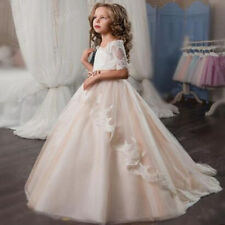Wedding Flower Girl Dresses Champagne Tulle A-line Communion Party Prom Pageant