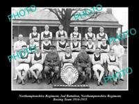 OLD POSTCARD SIZE MILITARY PHOTO OF NORTHAMPTONSHIRE REGIMENT BOXING TEAM c1934
