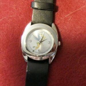 Disney Accutime Tinkerbell Watch Silver Tone, Black Faux Leather Band TK1031