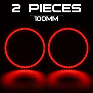 "2x Red 3.0"" COB LED Light Angel Eyes Halo Rings DRL for Car Headlight Retrofit"