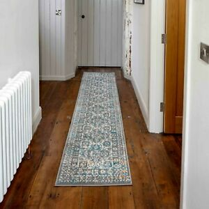 Grey & Blue Traditional Rugs Silver Teal Bordered Traditional Carpet Runner Mats
