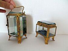 Lot d'1 coffret à bijoux+ porte montre gousset ,Napoléon 3 laiton doré & verres