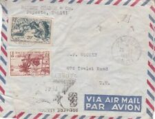 1951 French Polynesia #166,#177 on 1st flight cover; Final Destination Hawaii*d