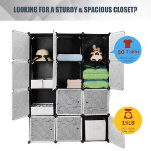 12 Cubes  Wardrobe Closet Cabinet Interlocking Storage Organizer Home Bedroom