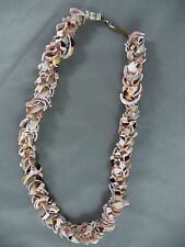 """Vintage Chunky Pink Sea Shell Pieces Made in Philippines 18"""" Necklace"""