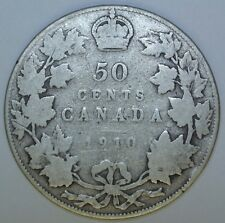 OLD CANADIAN COIN 1910 - 50 CENTS HALF DOLLAR - .925 SILVER - Edward VII
