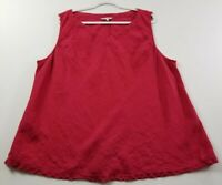 Kleen Women's Sleeveless Tank Top 3X Plus Red V Neck 100% Linen Casual Popover