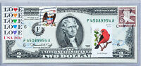 1976 2 Two Dollar Bill US Currency Notes Paper Money Unc USPS Forever Stamp Bird