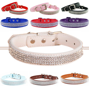 Dog Puppy Cat Collar Soft Tag Diamante Rhinestone Bling Pet Leather Safety Band