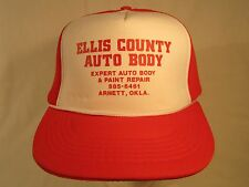 Vintage Hat Mens Cap ELLIS COUNTY AUTO BODY Arnett Oklahoma [Z191b]