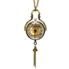 Retro Delicate Skeleton Hand-winding Mechanical Pocket Watch Glass Ball Pendant