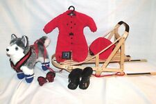 American Girl Pleasant Co 1997 Dogsled + Outfit + Husky Dog + Pamphlets + Flag !