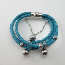 """Milor Italy Turquoise 3 Braid Leather Stainless Steel Ball Dangle 7"""" Bracelet"""