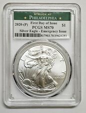 2020 P Silver Eagle Dollar $1 Emergency Issue Pcgs Ms70 Fdoi Coin sku c135