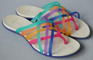 Ladies Crocs Huarache Multi Coloured Flip Flop Toe Post Slip On Sandals UK 7