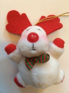 Roly Poly Plump Rosy Cheeks White & Red Reindeer Christmas Ornament - Plush