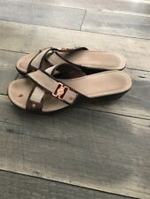 COLE HAAN Womens Brown Tan Bronze Wedge Driving Sandals Slides Size 8 B