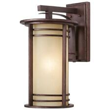 Home Decorators 20 in 1-Light Bronze Outdoor Wall Lantern with Amber Glass 16982