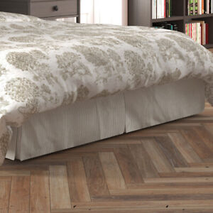 Carolina Linens Tailored Bedskirt in Farmhouse Rustic Brown Ticking Stripe