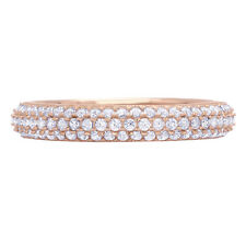 0.8 Round Cut Pave Set Wedding Anniversary Bridal Engagement Band 14k Rose Gold