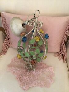 Vtg Tole Antique Chandelier Lamp Roses Flowers Italian  Cage