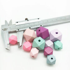 100Pcs Hexagon Wood Spacer Beads Paint Wooden Necklace DIY Baby Jewelry Making