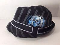 Day Of The Dead Black Sugar Skull Fedora Hat Fancy Dress  Accessory