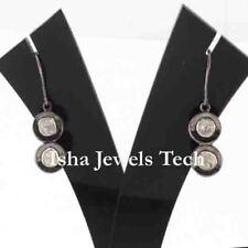 Victorian Diamond Jewelry Natural Diamond Polki 925 Sterling Silver Earrings